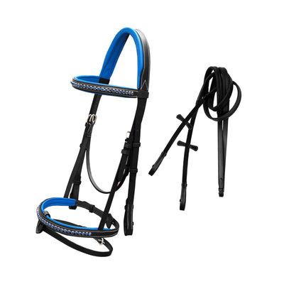 English Bridles-ExionPro Dark Blue Bling Snaffle Bridle with Blue Lined Crown Piece & Rubber Reins-Bridles and Reins