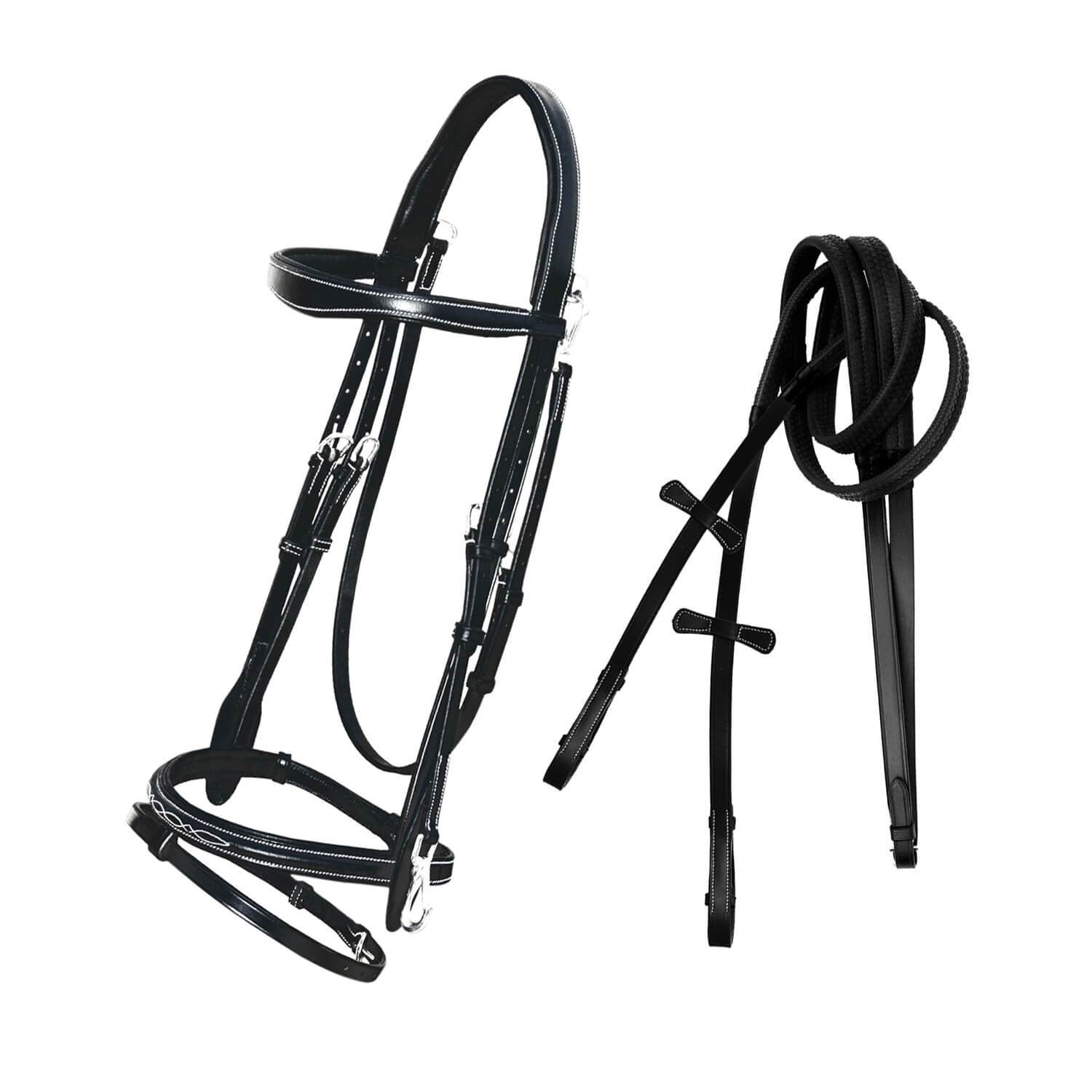 English Bridles-ExionPro Quick Release Working Bridle With Reins-Bridles and Reins