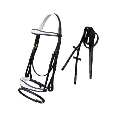 ExionPro White Calfskin Lined Mono Crown Piece Anatomical Bridle with Rubber Rein-Bridles & Reins