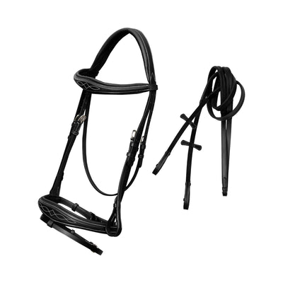 ExionPro Fancy Stitched Raised Anatomical Bridle with Rubber Reins-Bridles & Reins