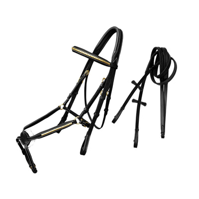English Bridles-ExionPro Brass Clincher Figure 8 Bridle with Rubber Reins-Bridles and Reins