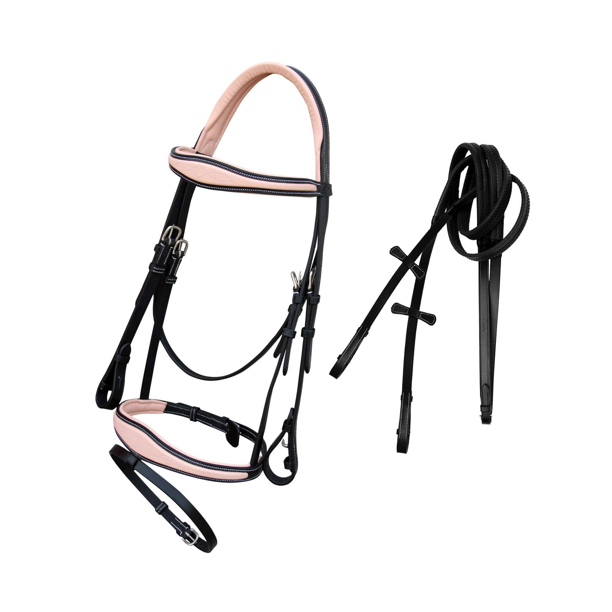 ExionPro Beige Calfskin Monocrown Crown Piece Anatomical Bridle with Rubber Rein-Bridles & Reins