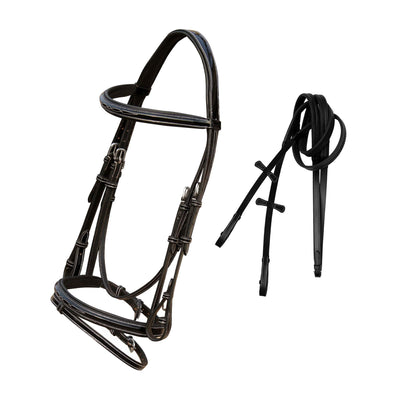 ExionPro Designer Fancy Square Raised Glossy Patent Leather Bridle & Rubber Reins-Bridles & Reins