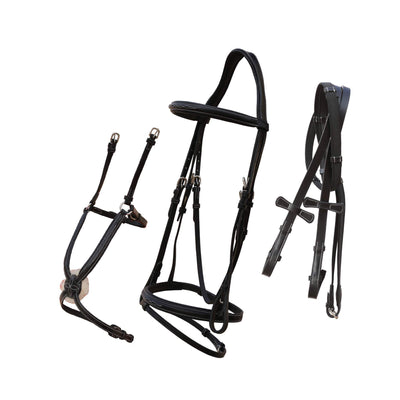 ExionPro Designer Stitched Snaffle Noseband & Figure 8 Noseband Combo Bridle with Anti Slip Reins-Bridles & Reins