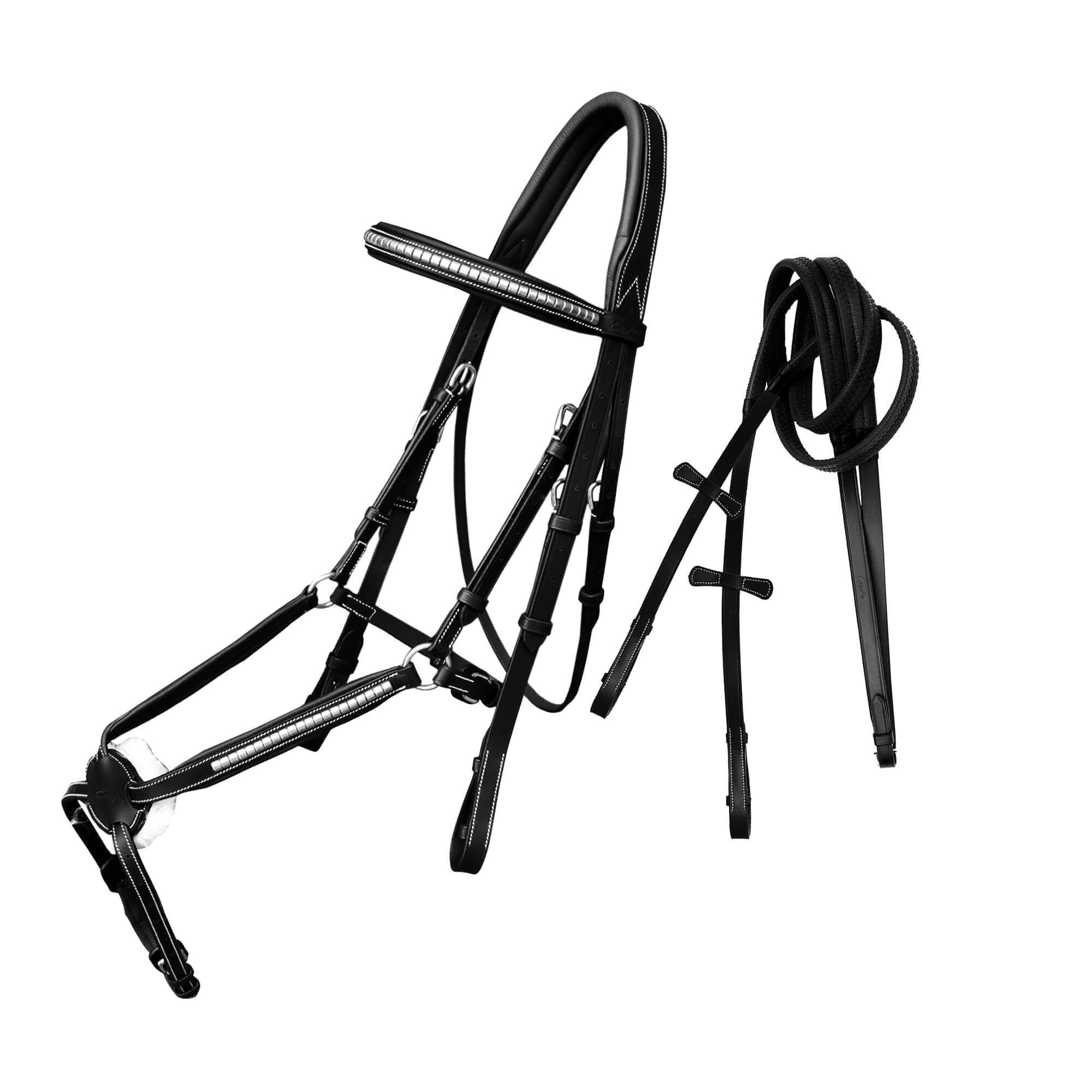 ExionPro SS Clincher Figure 8 Bridle with Rubber Reins-Bridles & Reins