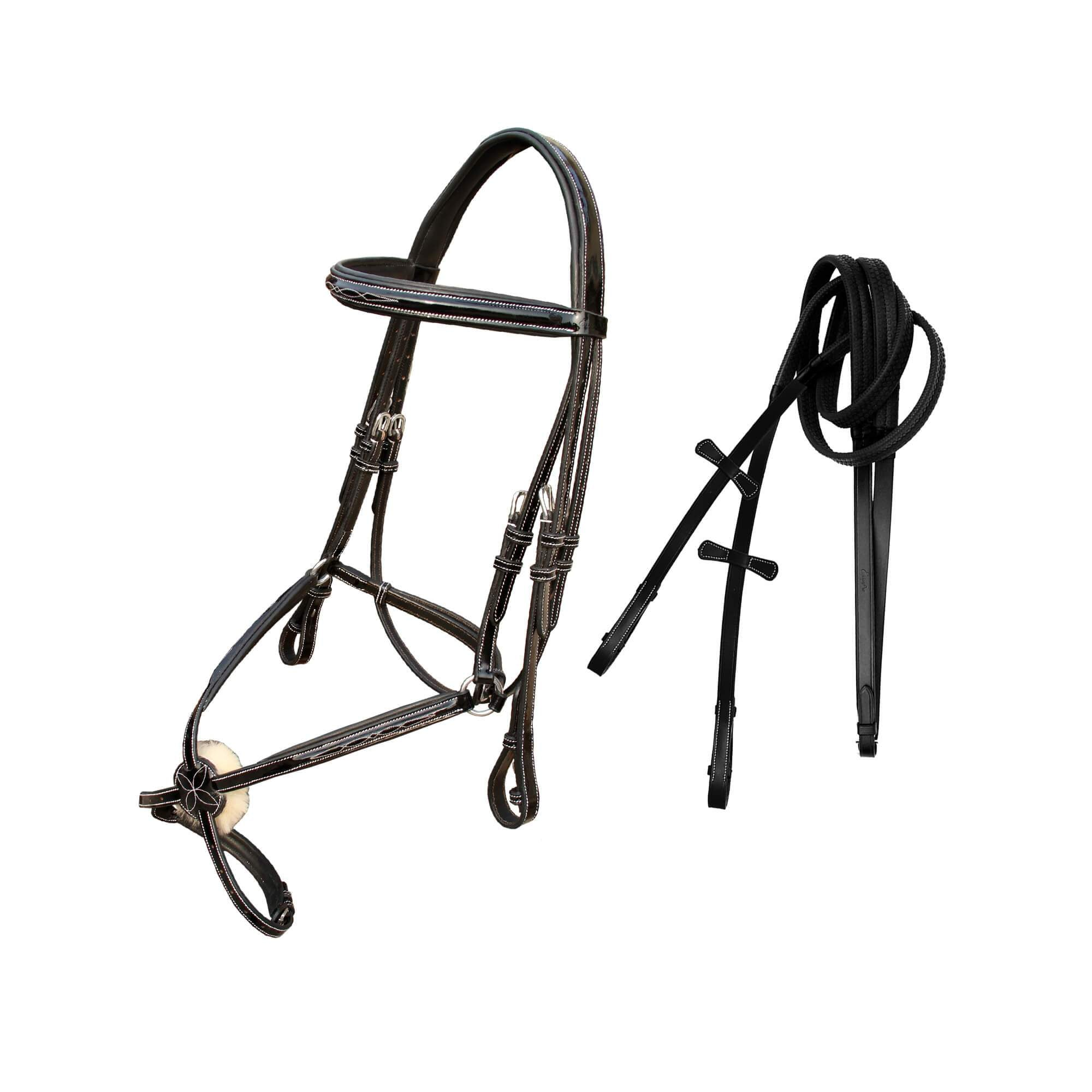 ExionPro Designer Fancy Patent Glossy Leather Figure 8 Bridle with Reins-Bridles & Reins