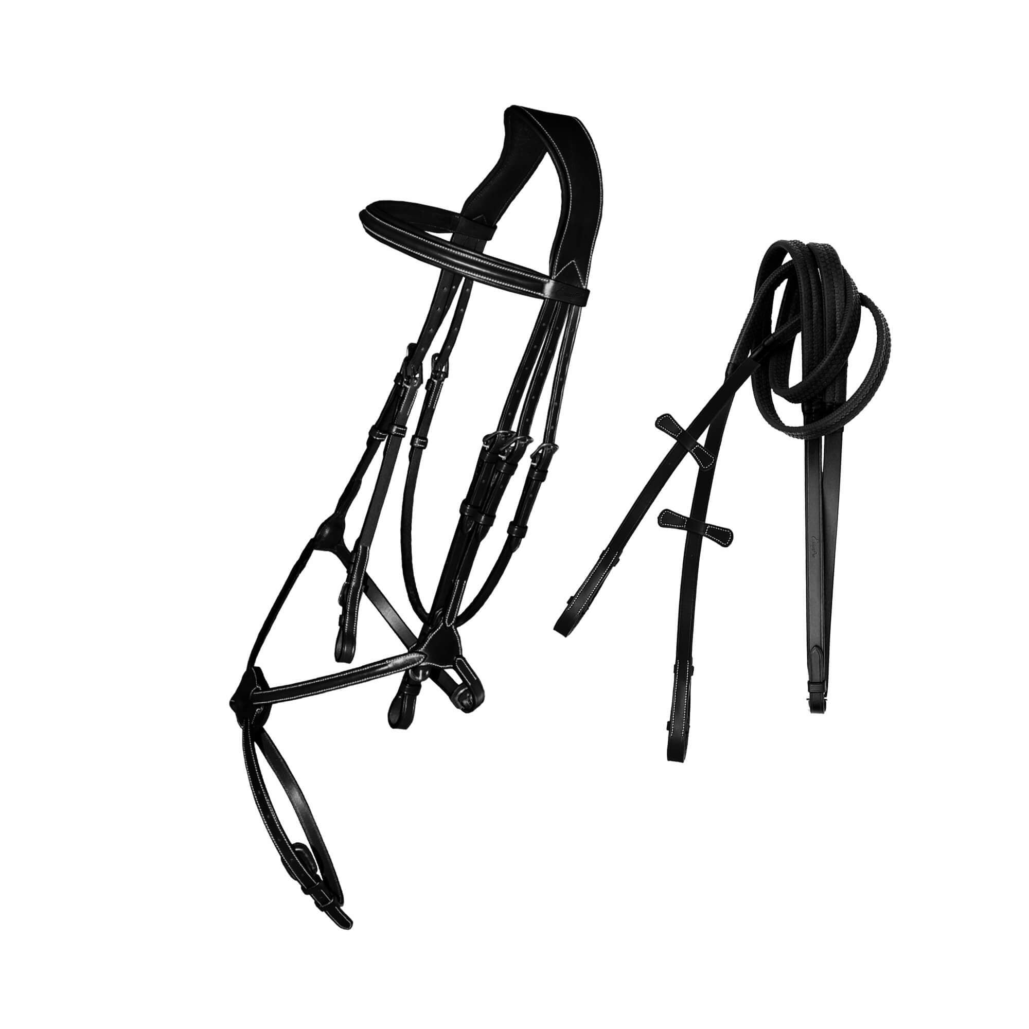 English Bridles-ExionPro Padded Joint Figure 8 Bridle with Rubber Reins-Bridles and Reins