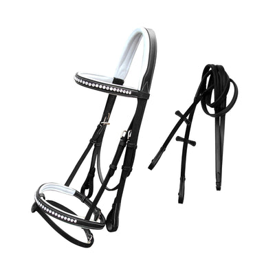 ExionPro White Bling & White Soft Lined Padding Bridle with Rubber Reins-Bridles & Reins