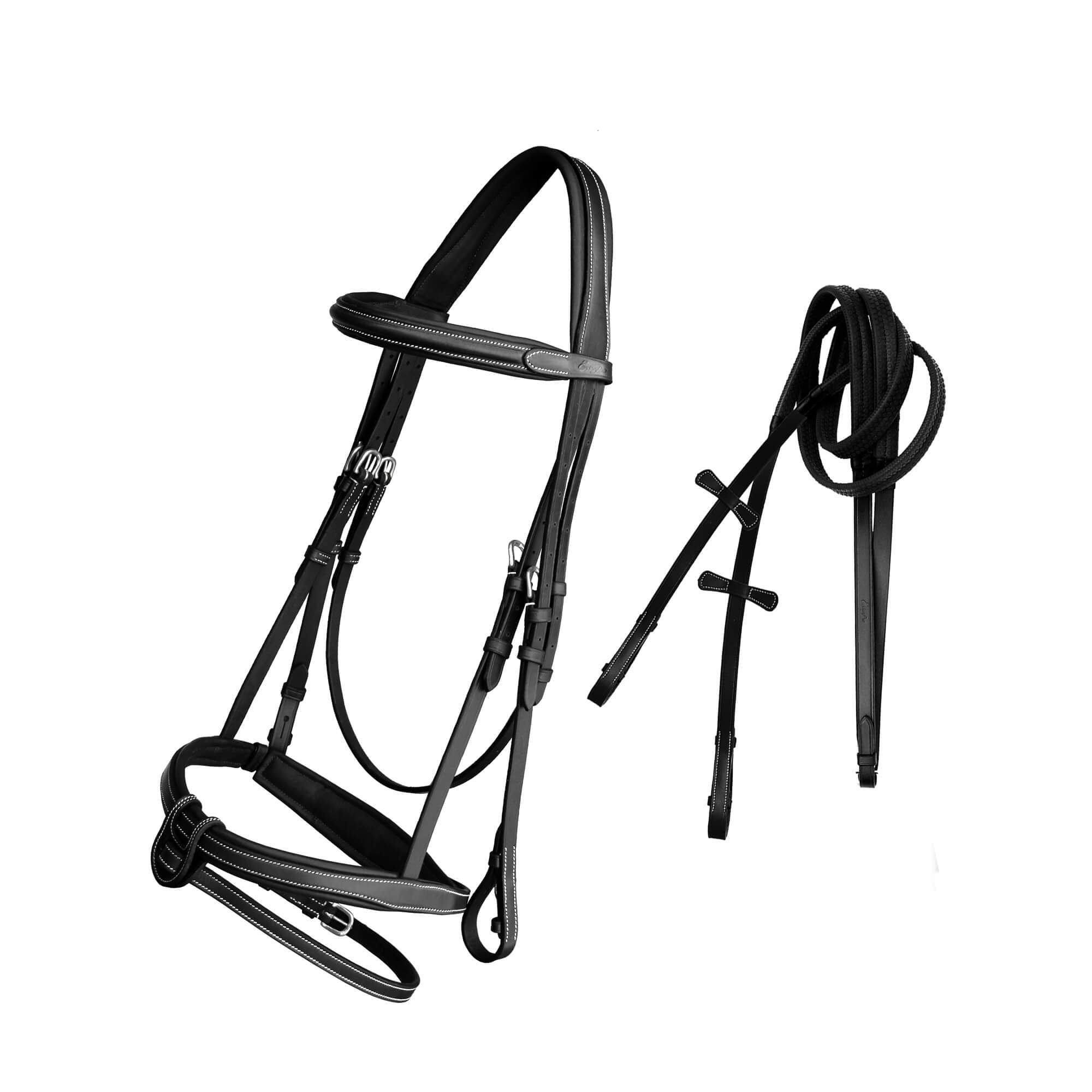 English Bridles-ExionPro Full Padded Snaffle Bridle with U Shape Detachable Flash & Reins-Bridles and Reins