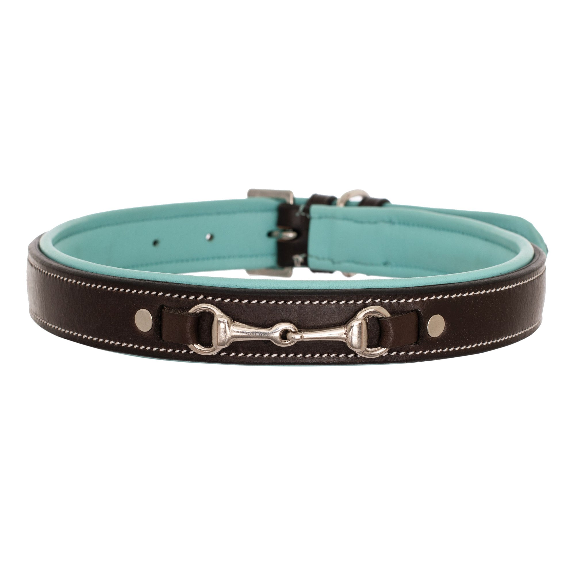 ExionPro Silver Snaffle Padded Leather Dog Collar - Sky Blue Padding-Bridles & Reins