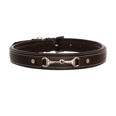 ExionPro Silver Snaffle Padded Leather Dog Collar - Brown Padding-Bridles & Reins