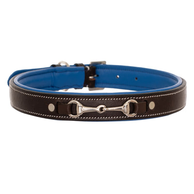 ExionPro Silver Snaffle Padded Leather Dog Collar - Blue Padding-Bridles & Reins