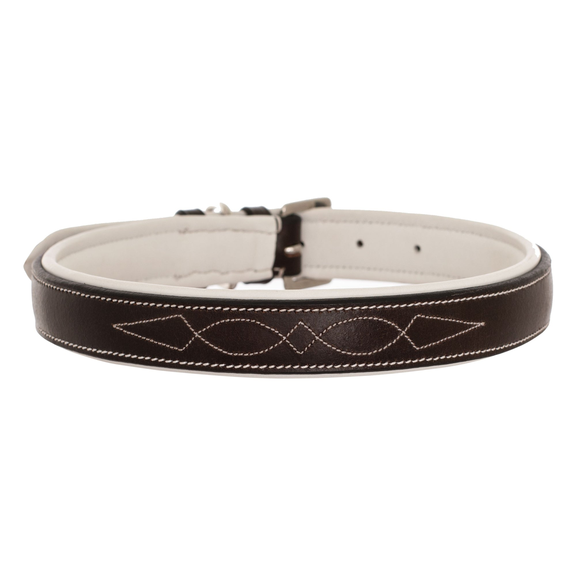 ExionPro Fancy Stitched Padded Leather Dog Collar - White Padding-Bridles & Reins