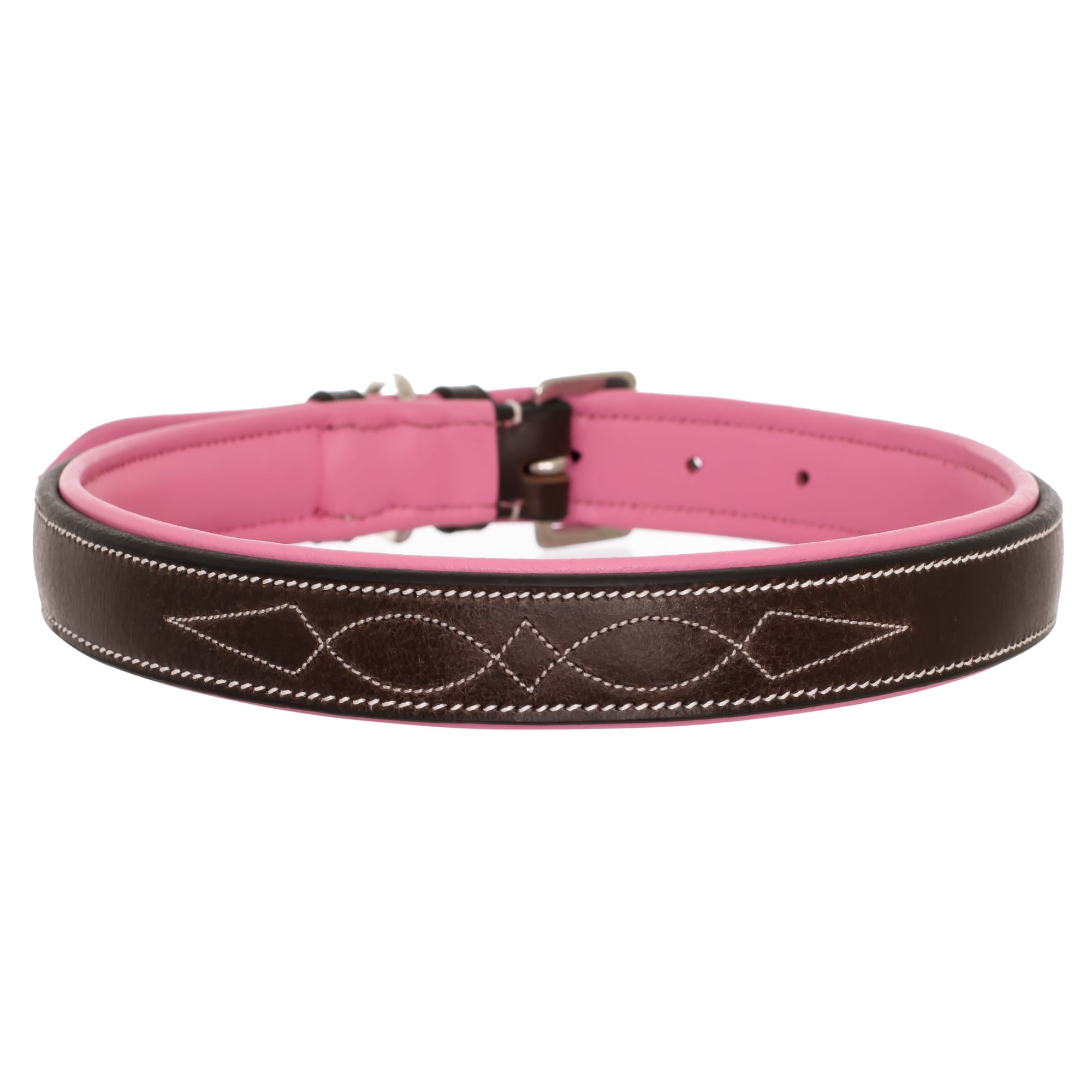 ExionPro Fancy Stitched Padded Leather Dog Collar - Pink Padding-Bridles & Reins