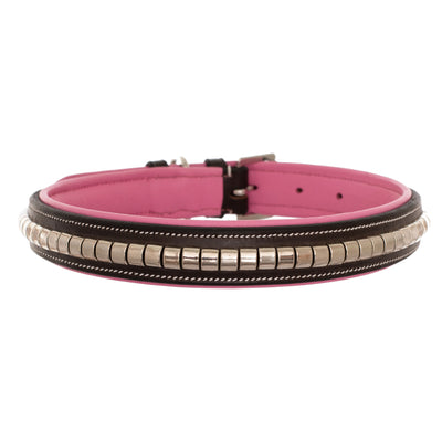 ExionPro Silver Clincher Padded Leather Dog Collar - Pink Padding-Bridles & Reins