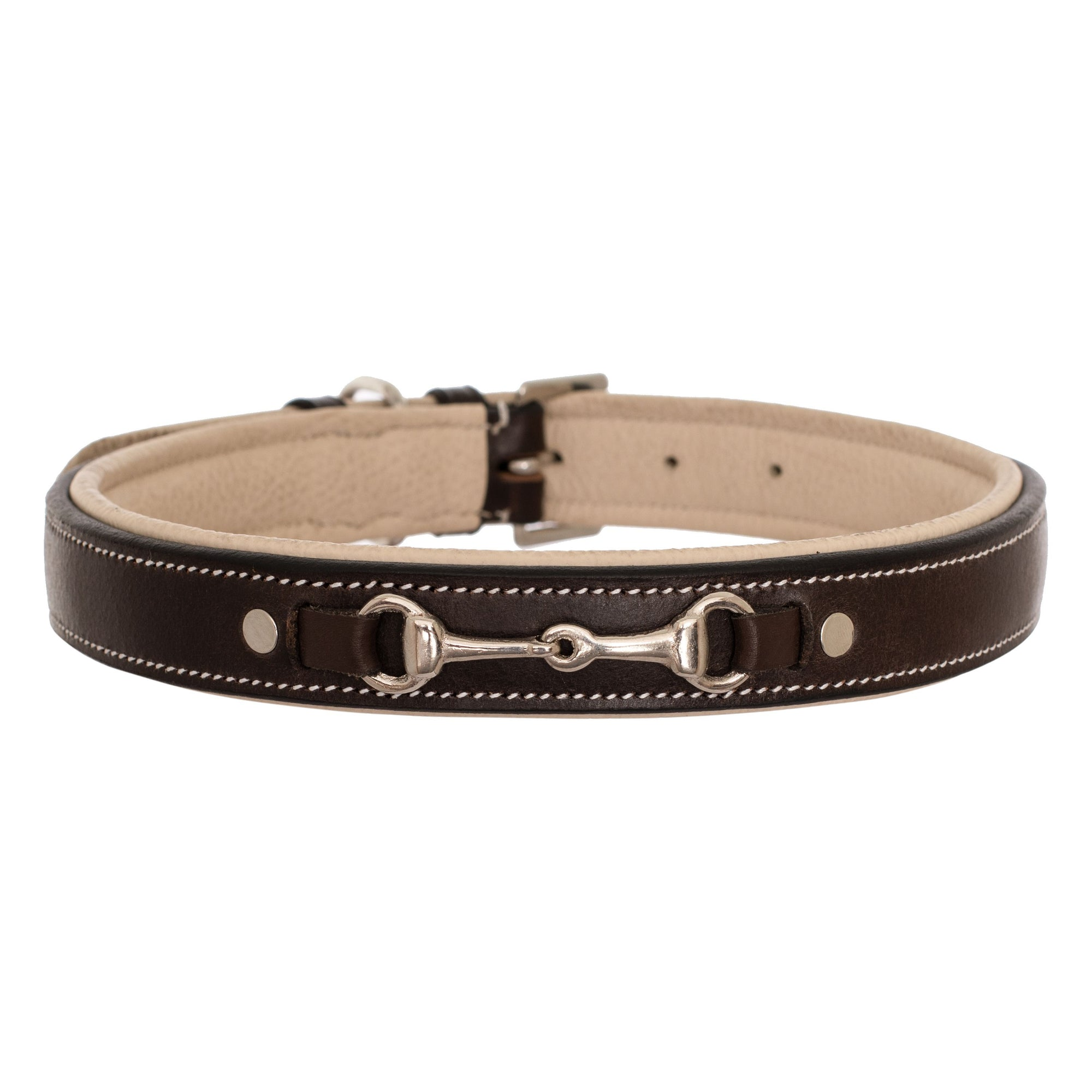 ExionPro Silver Snaffle Padded Leather Dog Collar - Beige Padding-Bridles & Reins