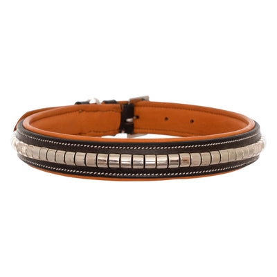 ExionPro Silver Clincher Padded Leather Dog Collar - Conker Padding-Bridles & Reins