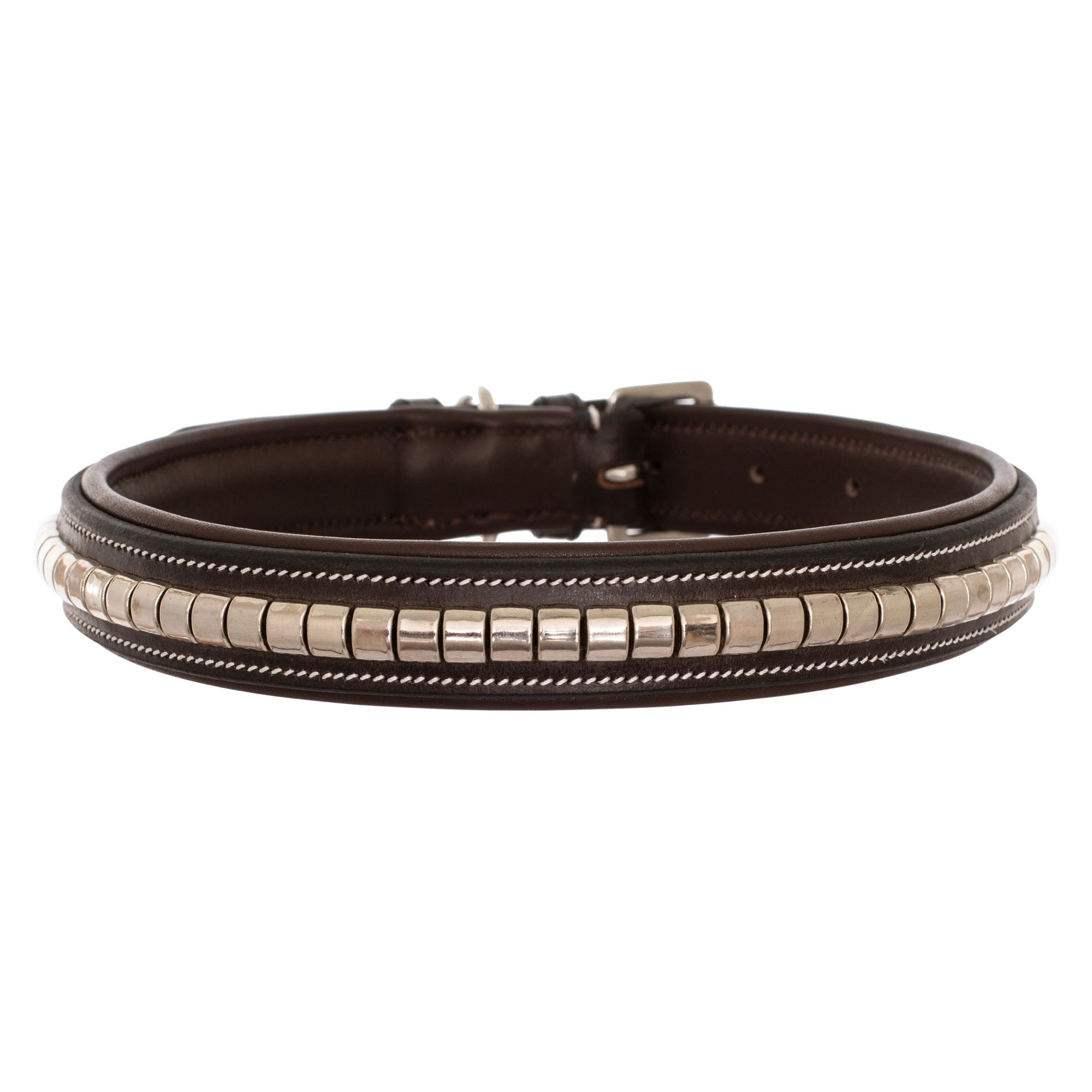 ExionPro Silver Clincher Padded Leather Dog Collar - Brown Padding-Bridles & Reins