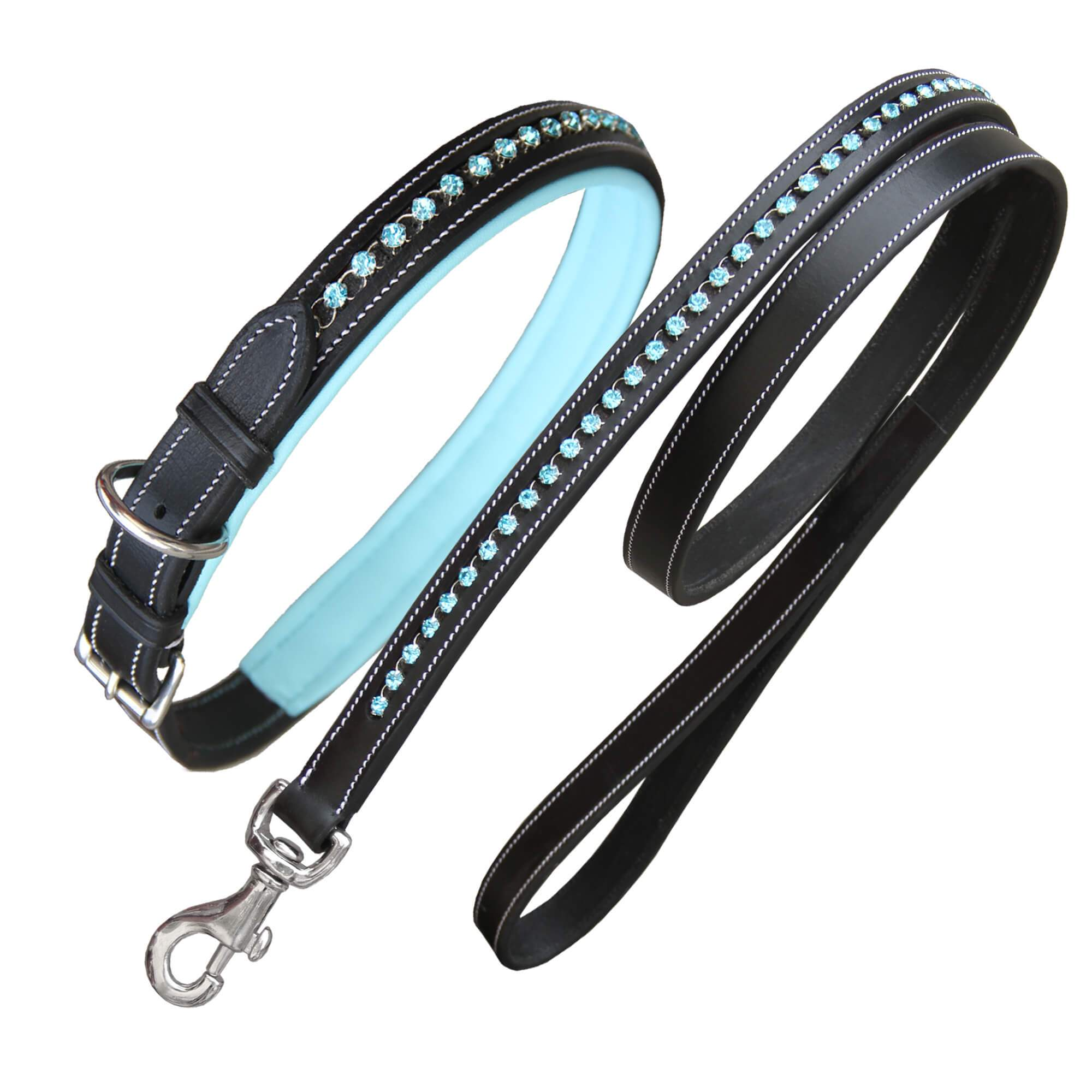 ExionPro Blue Bling Dog Collar With Lead-Bridles & Reins