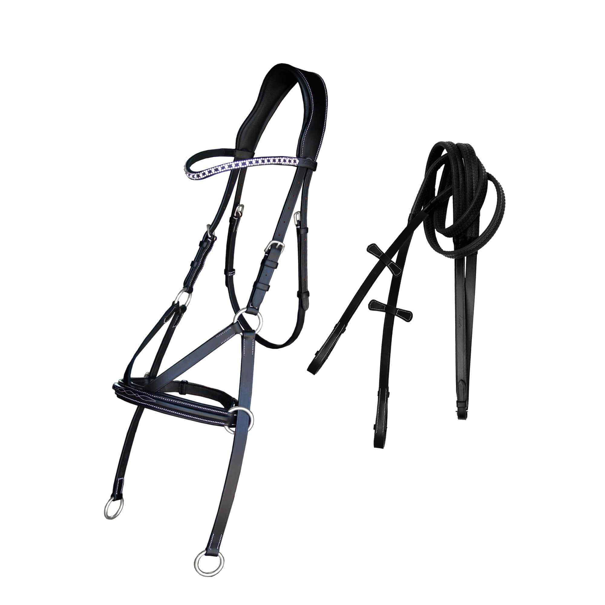 ExionPro Bling Fancy Square Raised Bitless Bridle-Bridles & Reins