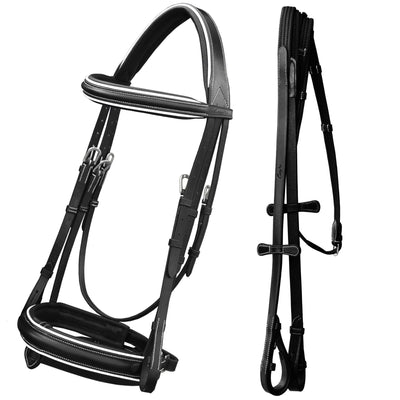 ExionPro Comfort Lined White Piping Broad Dressage Bridle With Web Reins-Bridles & Reins