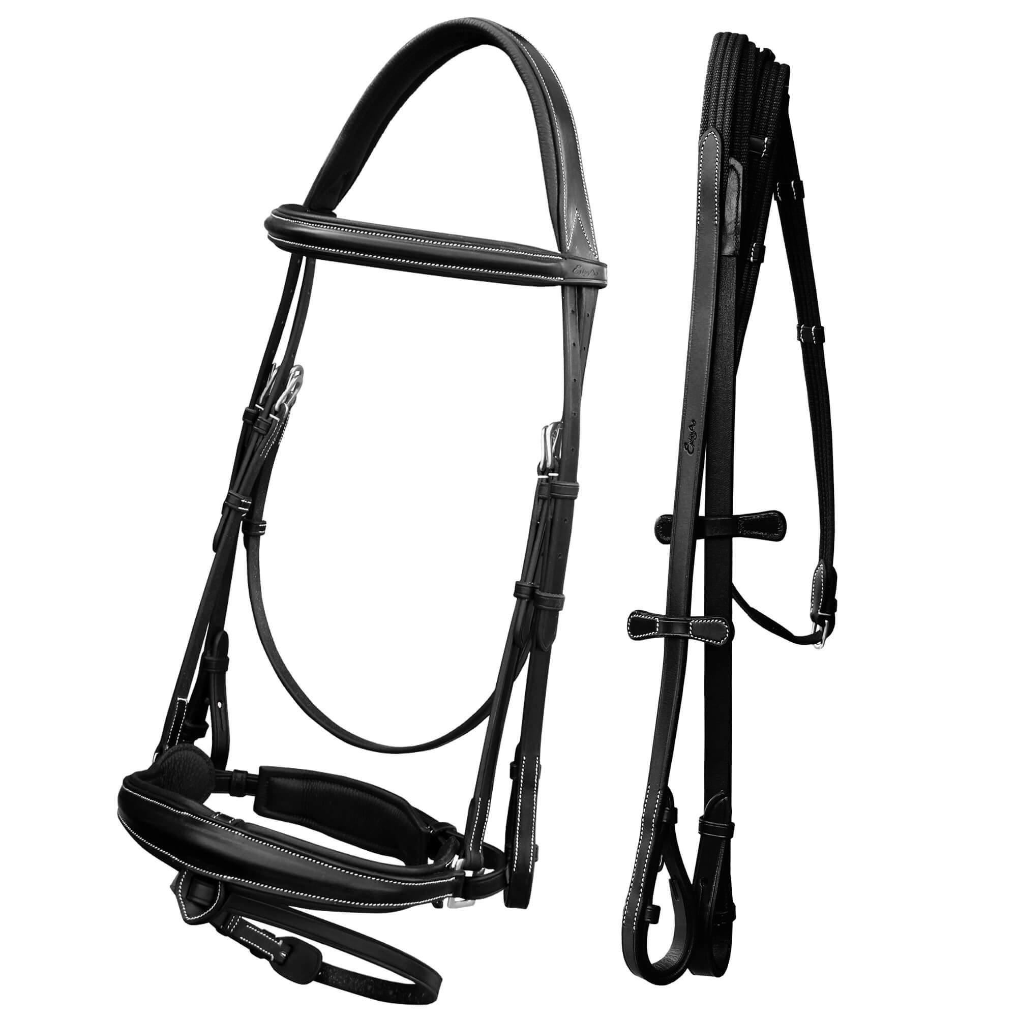 ExionPro Anatomical Dressage Bridle With Detachable Flash & Leather Stopper Reins-Bridles & Reins