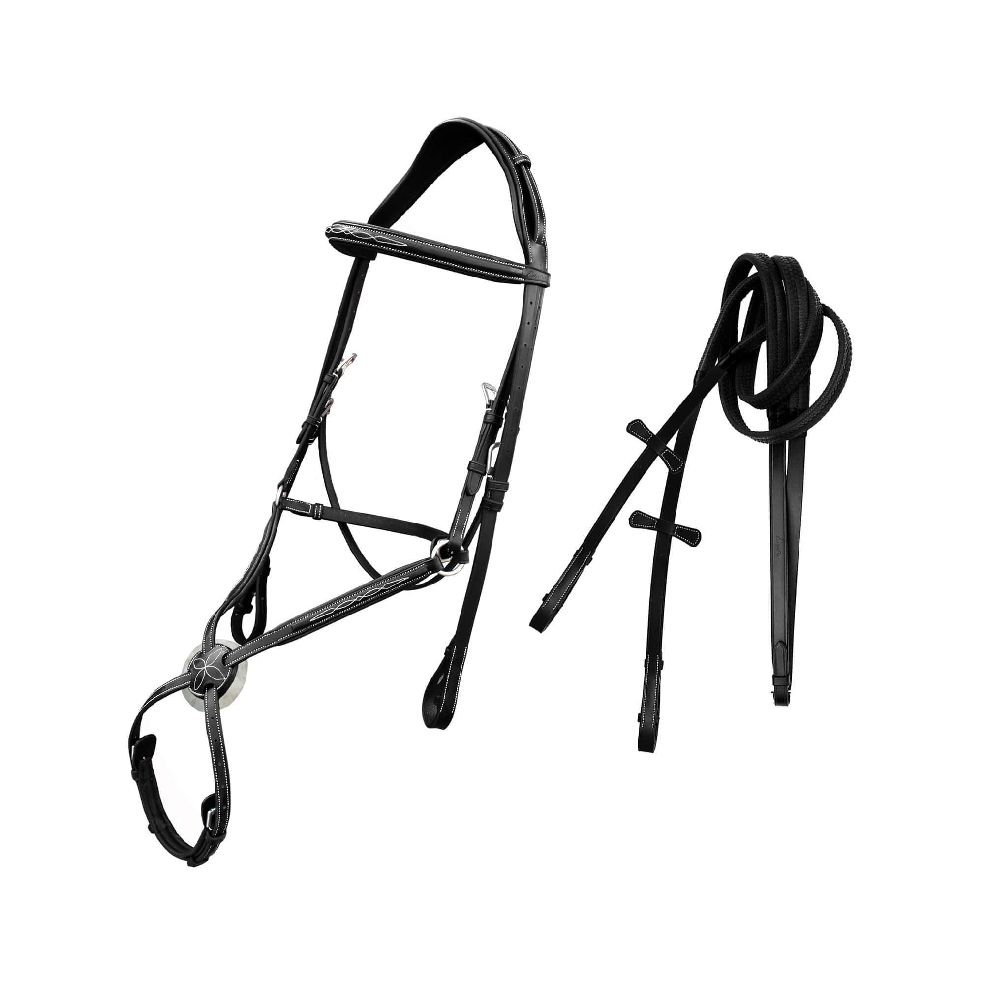 English Bridles-ExionPro Monocrown Crown Piece Adjustable Designer Figure 8 Bridle with Reins-Bridles and Reins