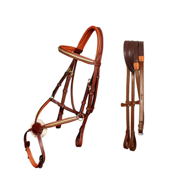 ExionPro Brass Clincher Figure 8 Bridle with Rubber Reins-Bridles & Reins