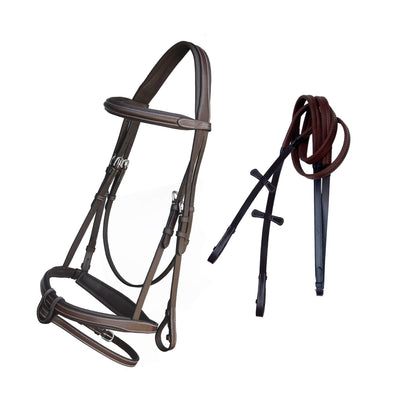 ExionPro Full Padded Snaffle Bridle with U Shape Detachable Flash & Reins-Bridles & Reins