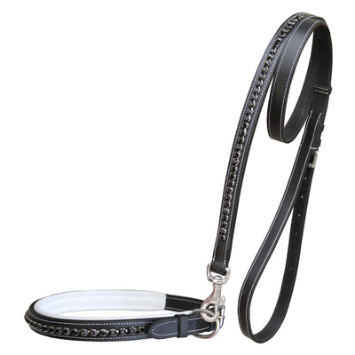 ExionPro Black Bling Dog Collar With Lead-Dog Collar and Leads from Bridles & Reins