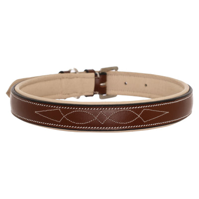 ExionPro Fancy Stitched Padded Leather Dog Collar - Beige Padding-Bridles & Reins