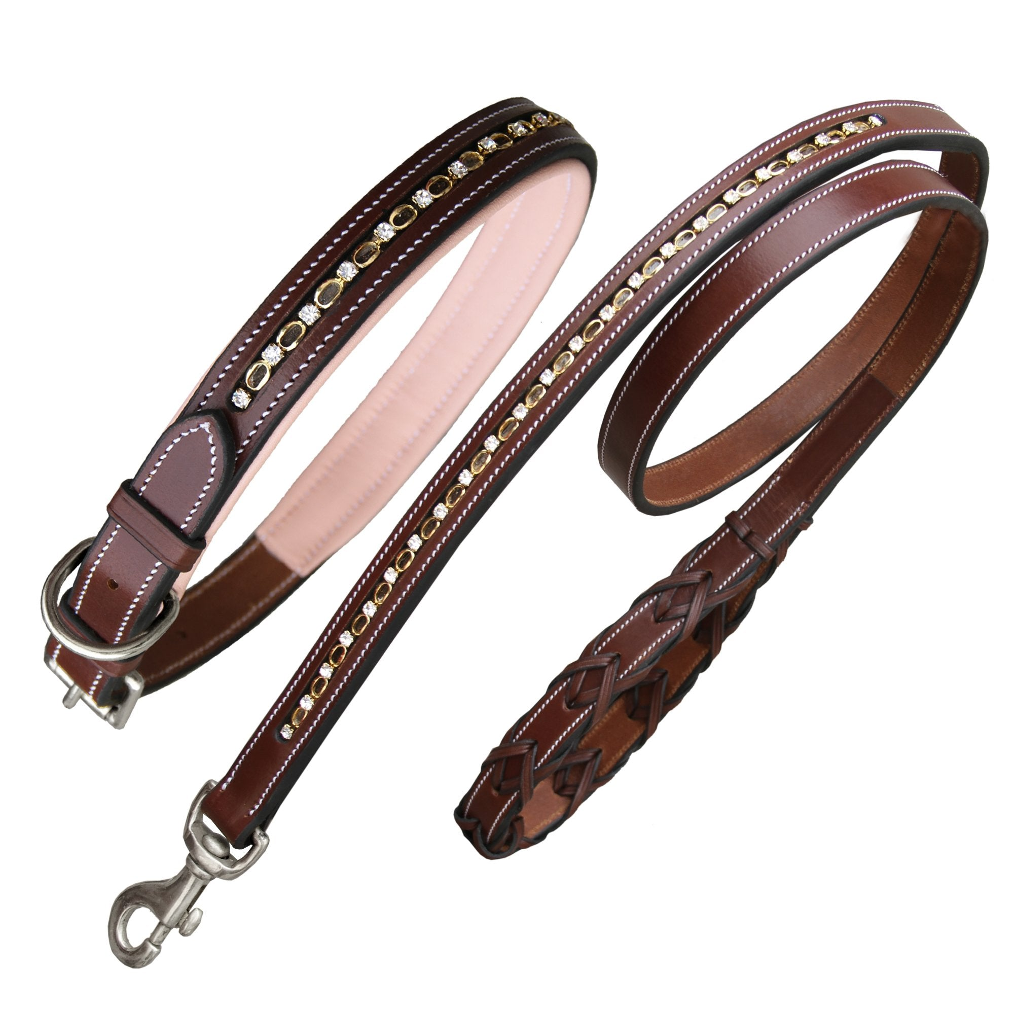 ExionPro Bling Beige Dog Collar With Lead-Bridles & Reins