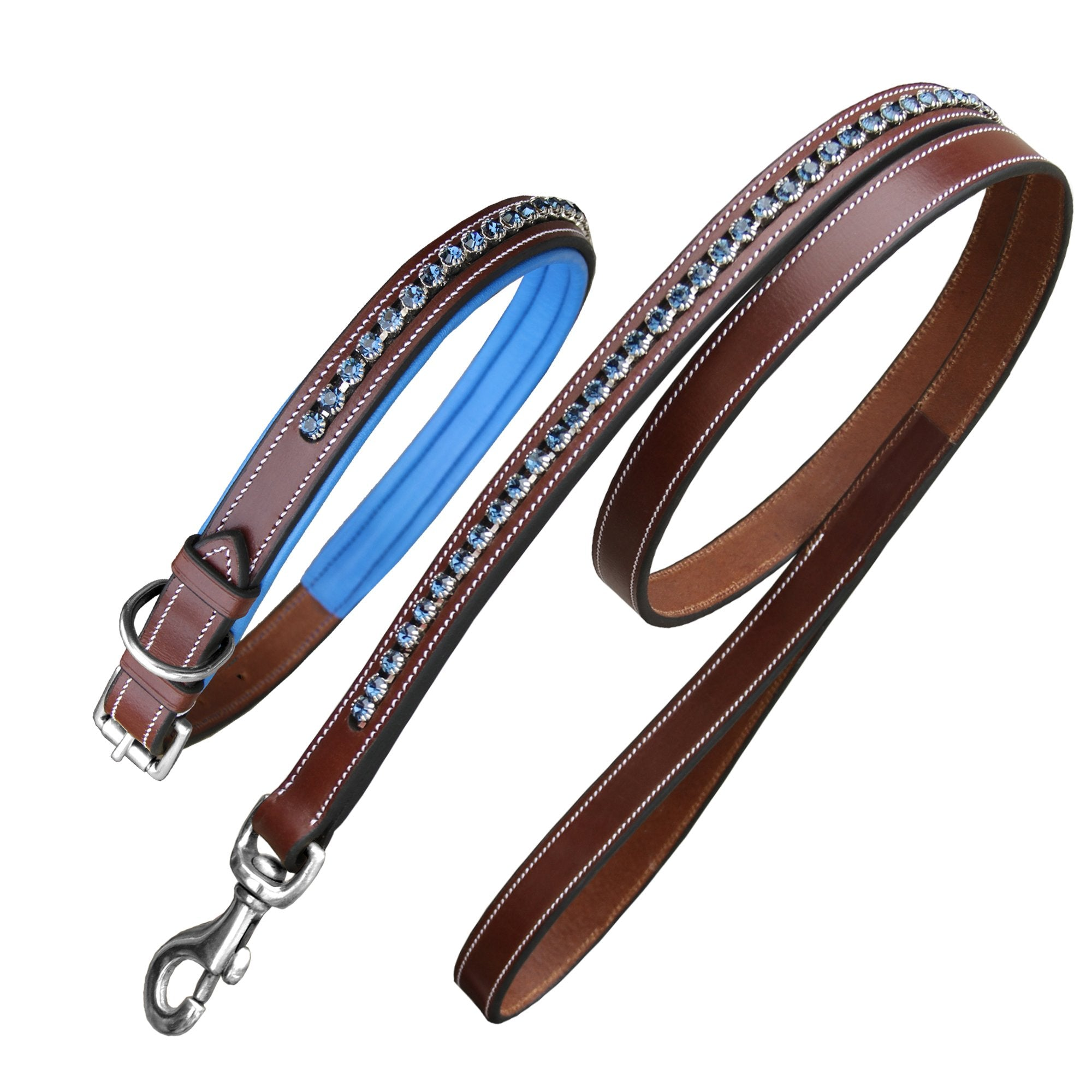 ExionPro Dark Blue Bling Dog Collar With Lead-Bridles & Reins