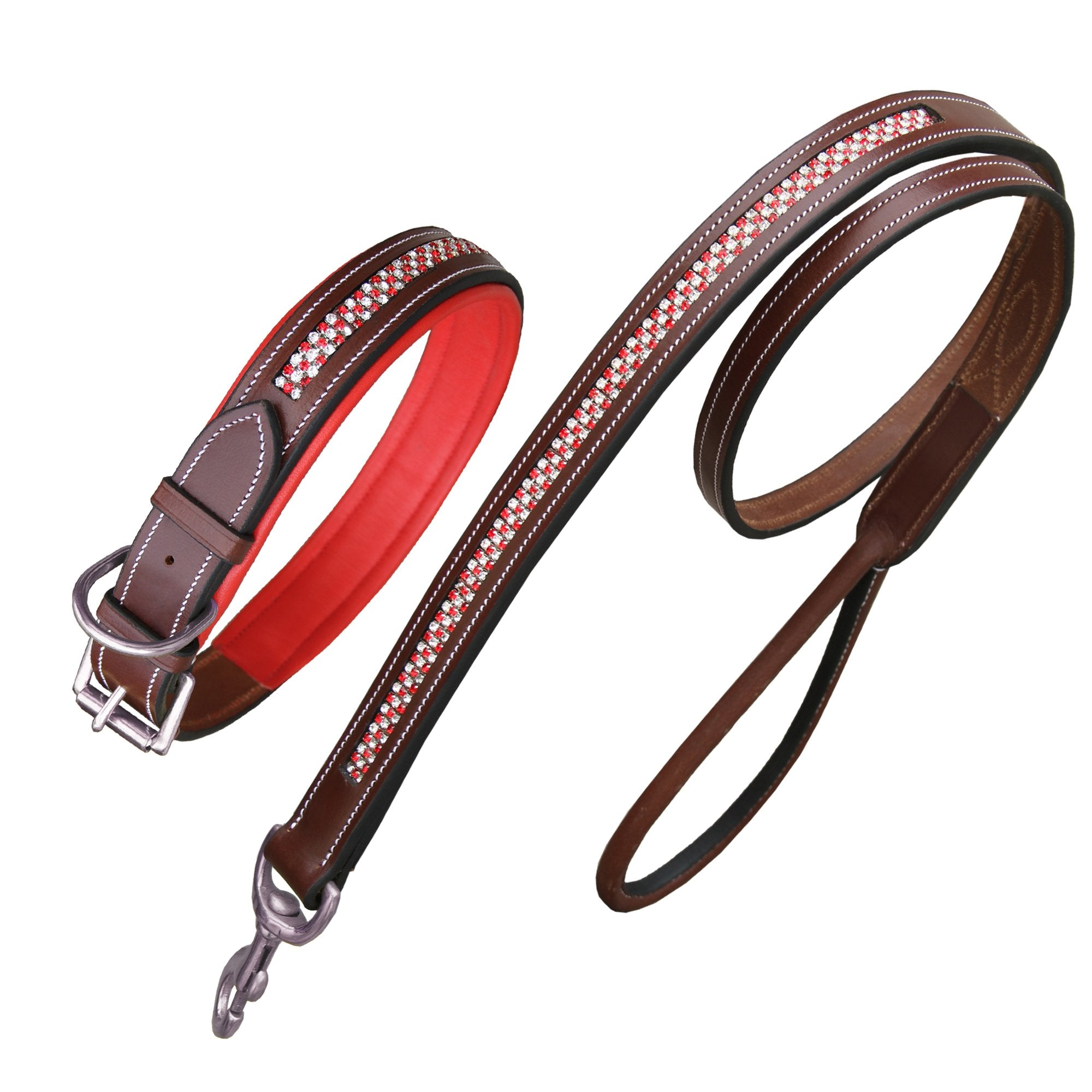 ExionPro Red Bling Dog Collar With Lead-Dog Collar and Leads from Bridles & Reins