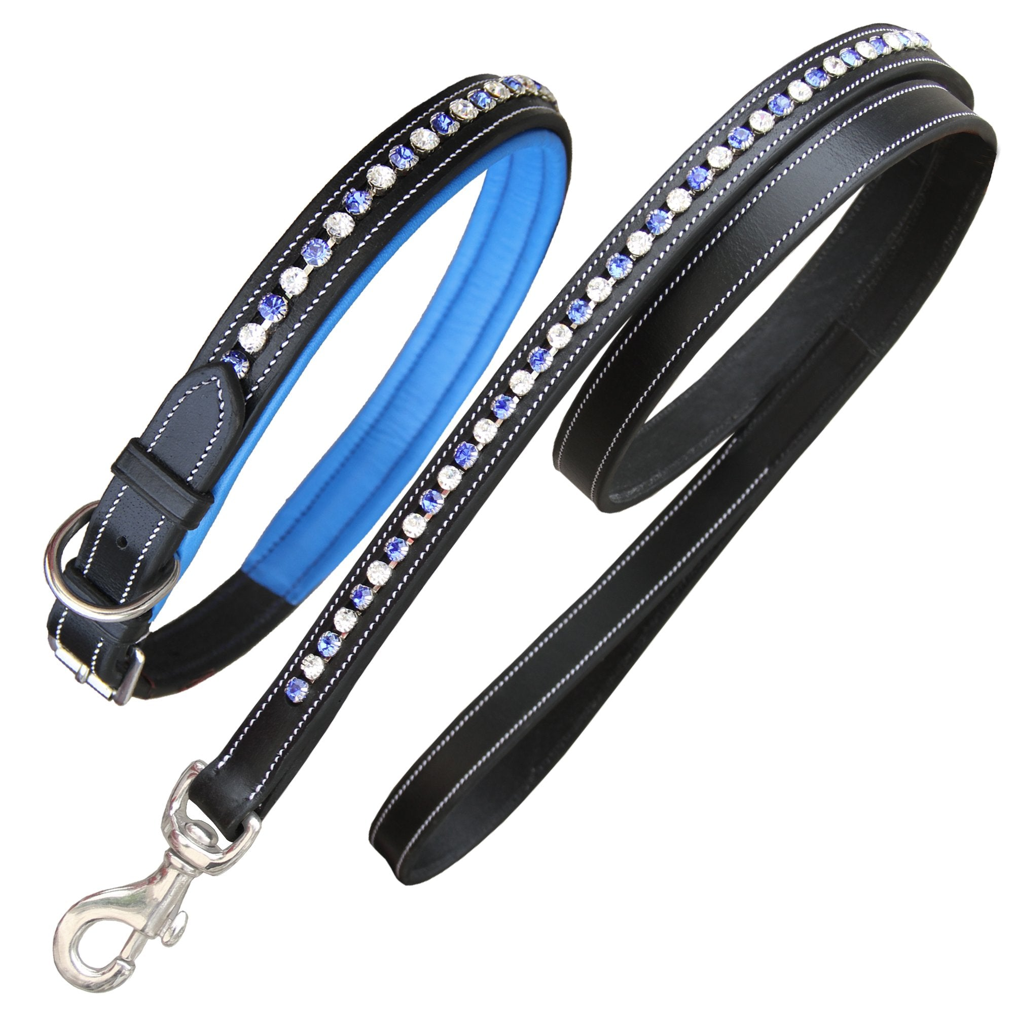 ExionPro White & Blue Bling Dog Collar With Lead-Bridles & Reins
