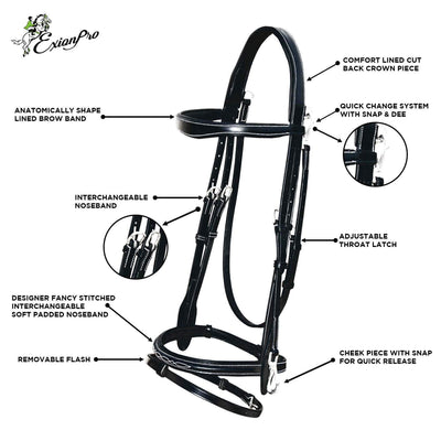 ExionPro Quick Release Working Bridle With Reins-Bridles & Reins