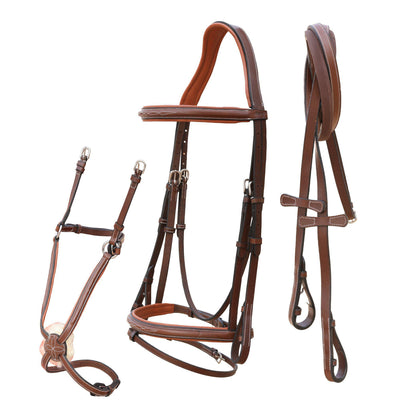 English Bridles-ExionPro Designer Stitched Snaffle Noseband & Figure 8 Noseband Combo Bridle with Hunter Reins-Bridles and Reins