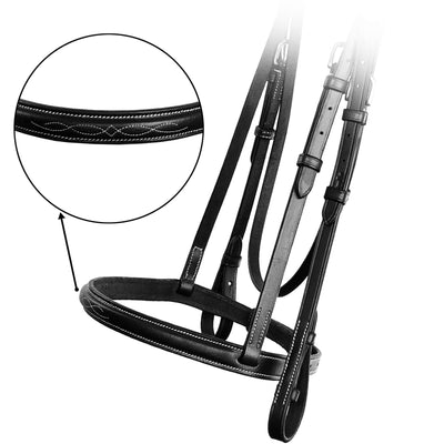 ExionPro Affordable Traditional Fancy Raised Bridle With Laced Reins-Bridles & Reins