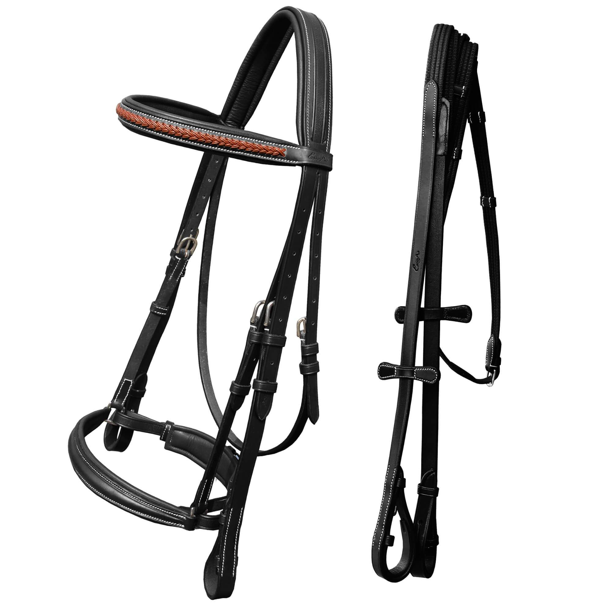 ExionPro Net Braided Browband & Dressage Bridle with Web Reins-Bridles & Reins