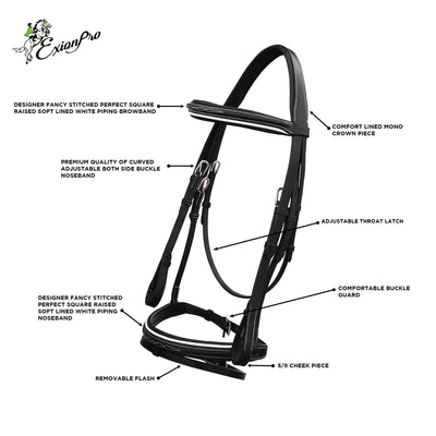 English Bridles-ExionPro White Piping Designer Fancy Stitched Flash Jumping Bridle with Rubber Reins-Bridles and Reins