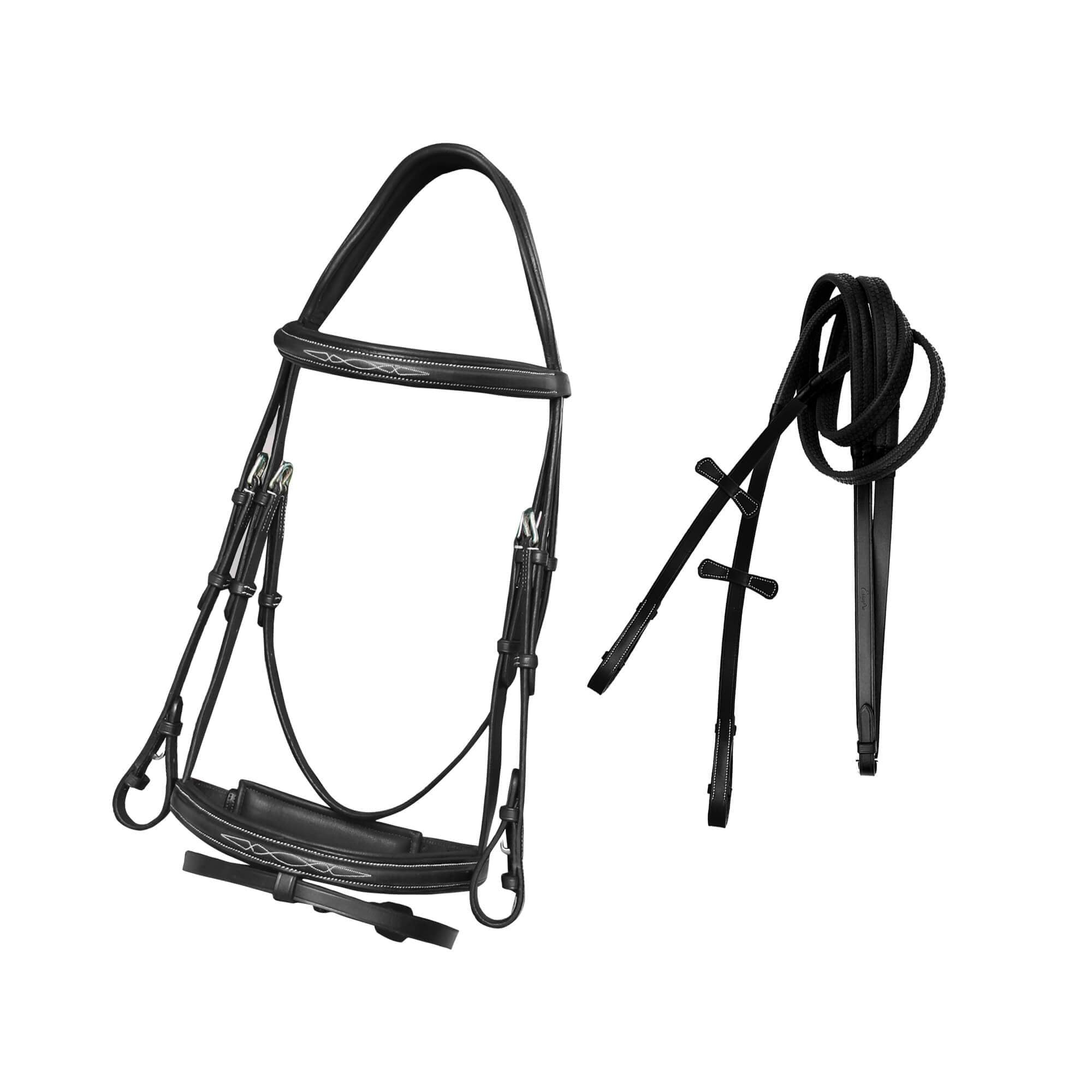 English Bridles-ExionPro Designer Fancy Stitched Bridle with Flash and Rubber Rein-Bridles and Reins