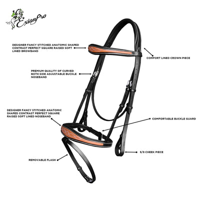 ExionPro Fancy Contrast Raised Anatomic Bridle with Reins-Bridles & Reins