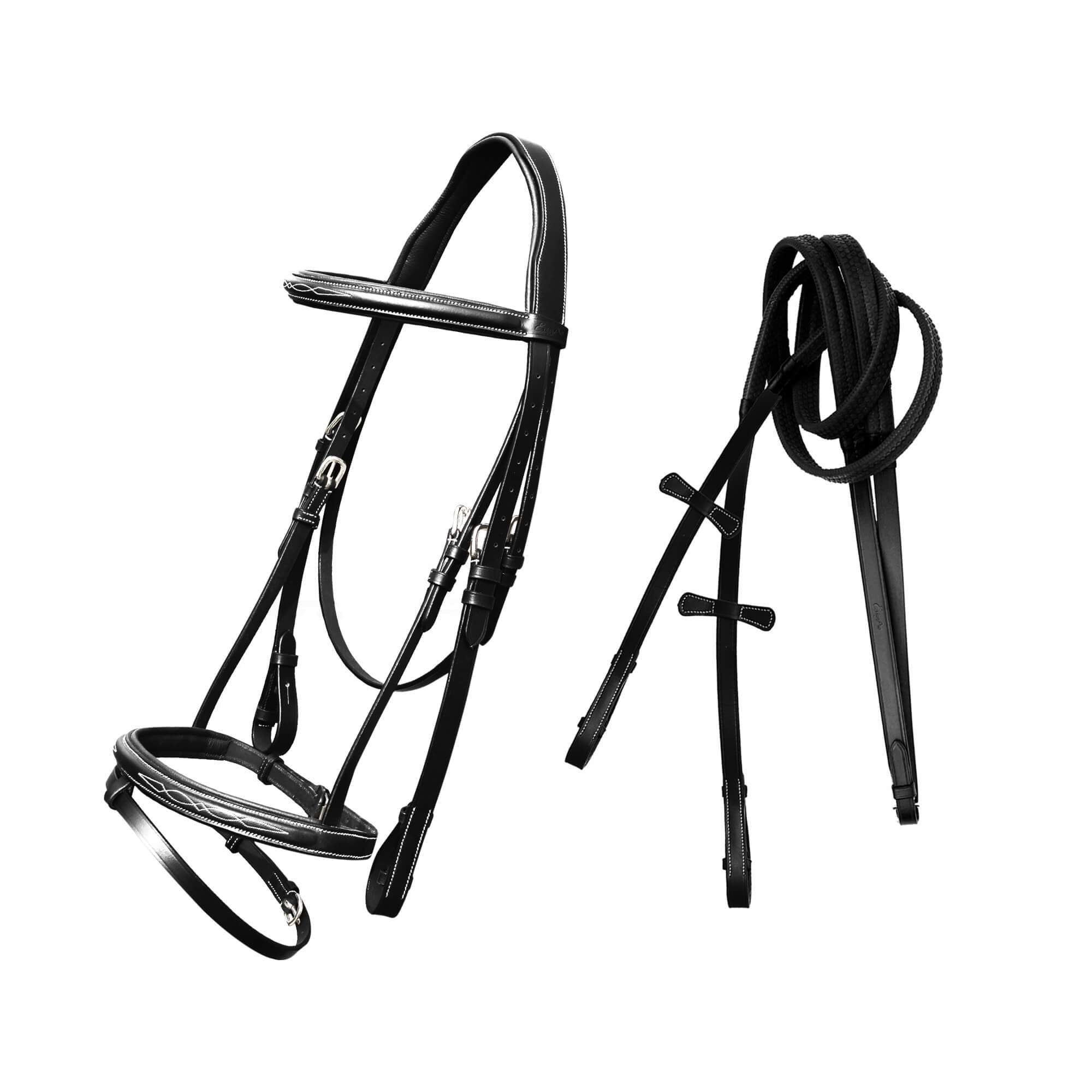 ExionPro Twin Designer Fancy Stitched English Snaffle Bridle with Reins-Bridles & Reins