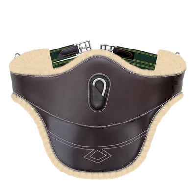 ExionPro Thick Lined Fancy Belly Guard Girth With Green Elastic with Yellow Lines-Bridles & Reins