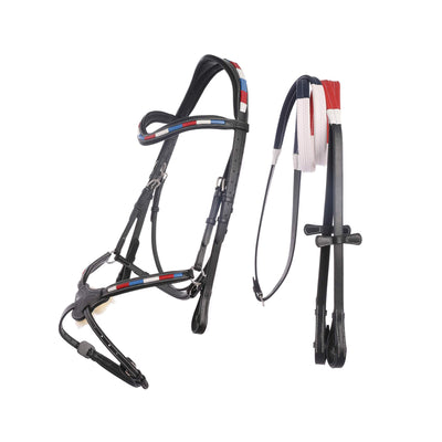 English Bridles-ExionPro Tri Color Red/Blue/White Strip Mexican Bridle with Reins-Bridles and Reins