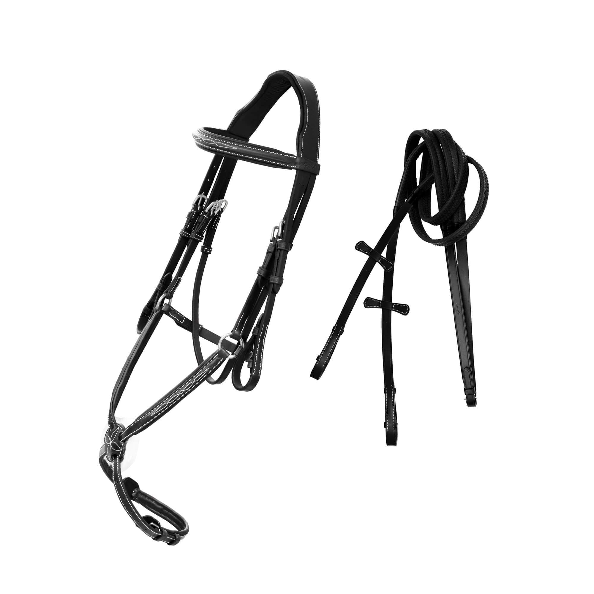English Bridles-ExionPro Designer Fancy Stitched Figure 8 Noseband Mono Crown Piece English Bridle With Rubber Rein-Bridles and Reins