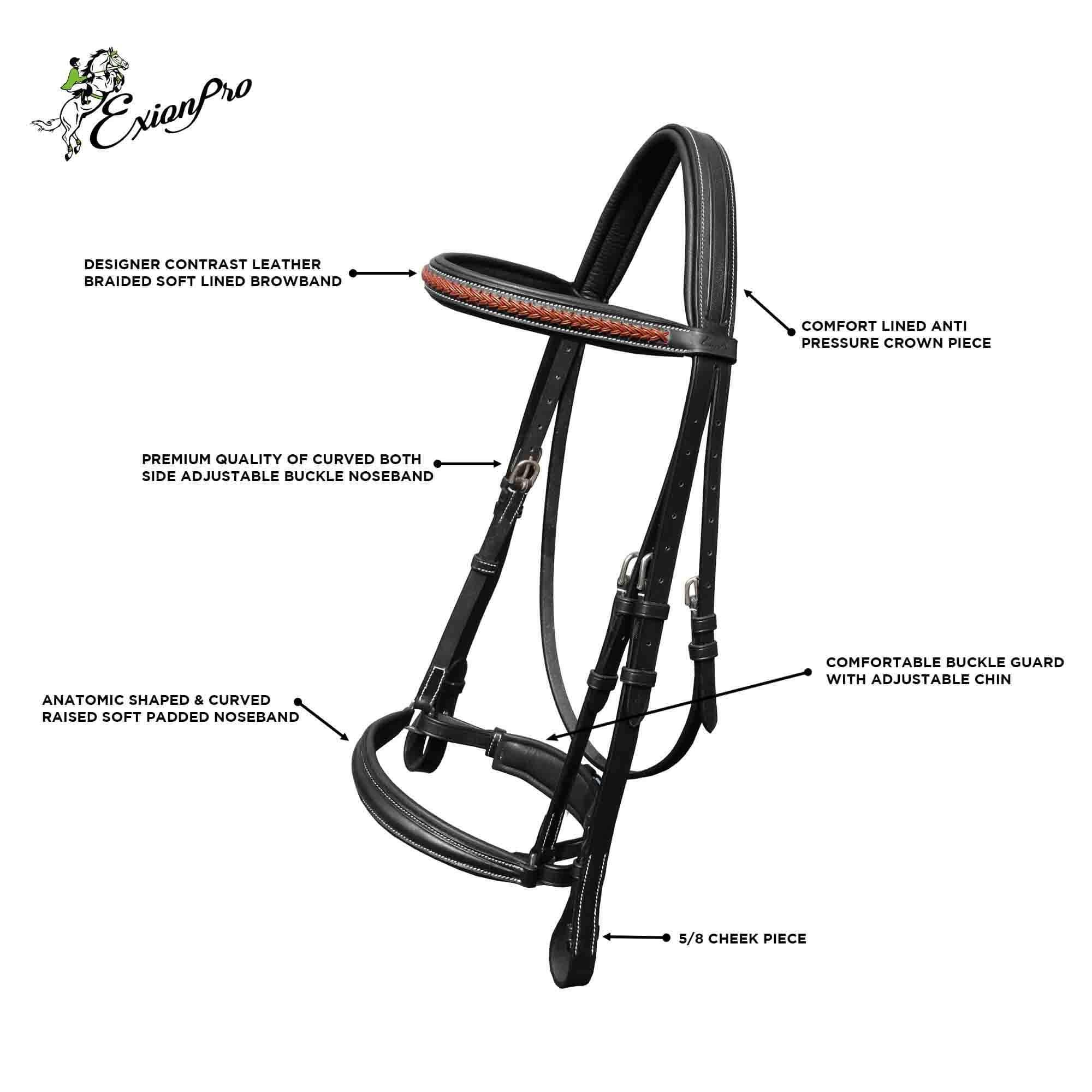 Leather Bridles for Horses English Horse Tack ExionPro Anti Pressure Crownpiece Round Raised Soft Padded Browband /& Noseband with Rubber Reins Equine Tack English Bridle