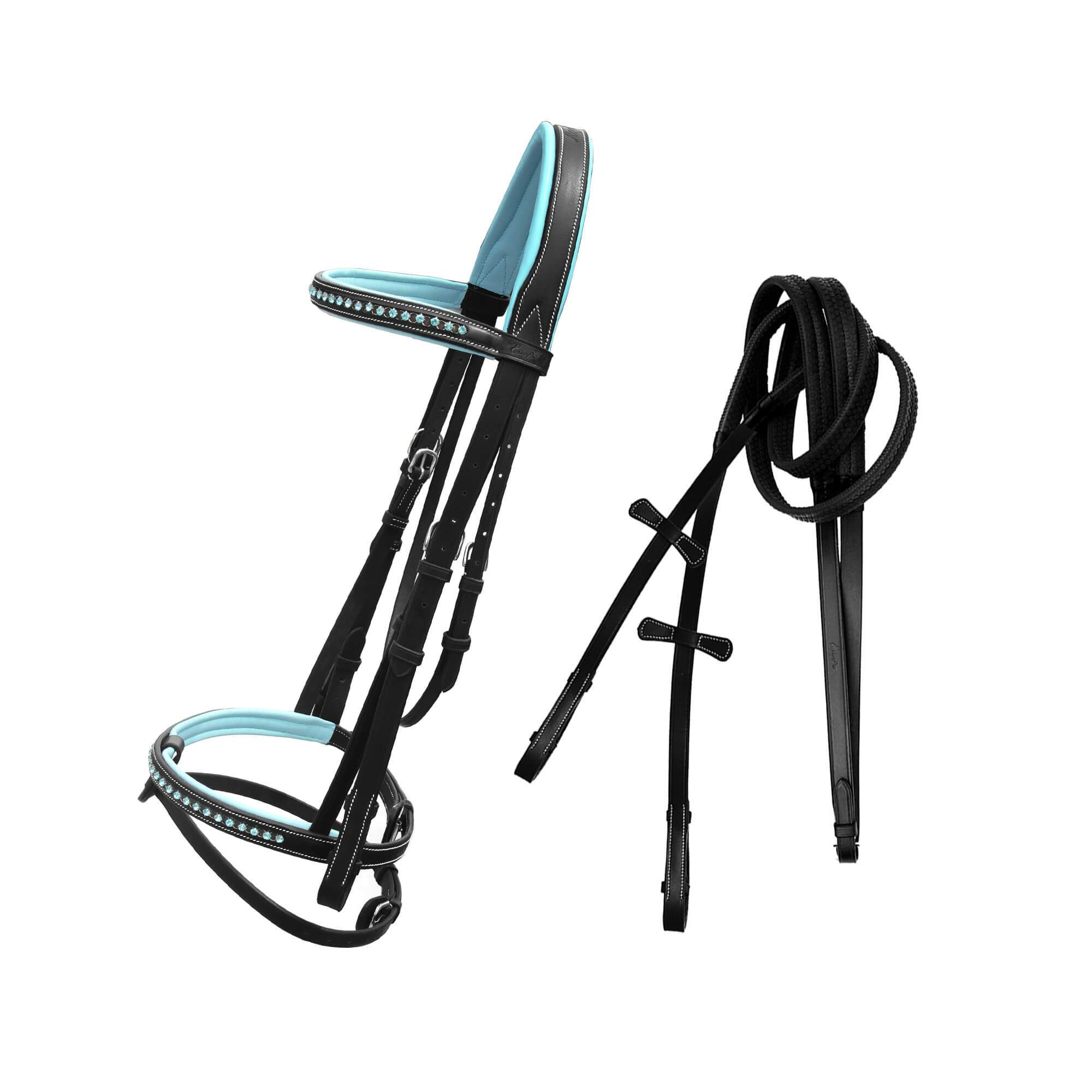 English Bridles-Exionpro Blue Bling Bridle With Baby Blue Padding & Reins-Bridles and Reins
