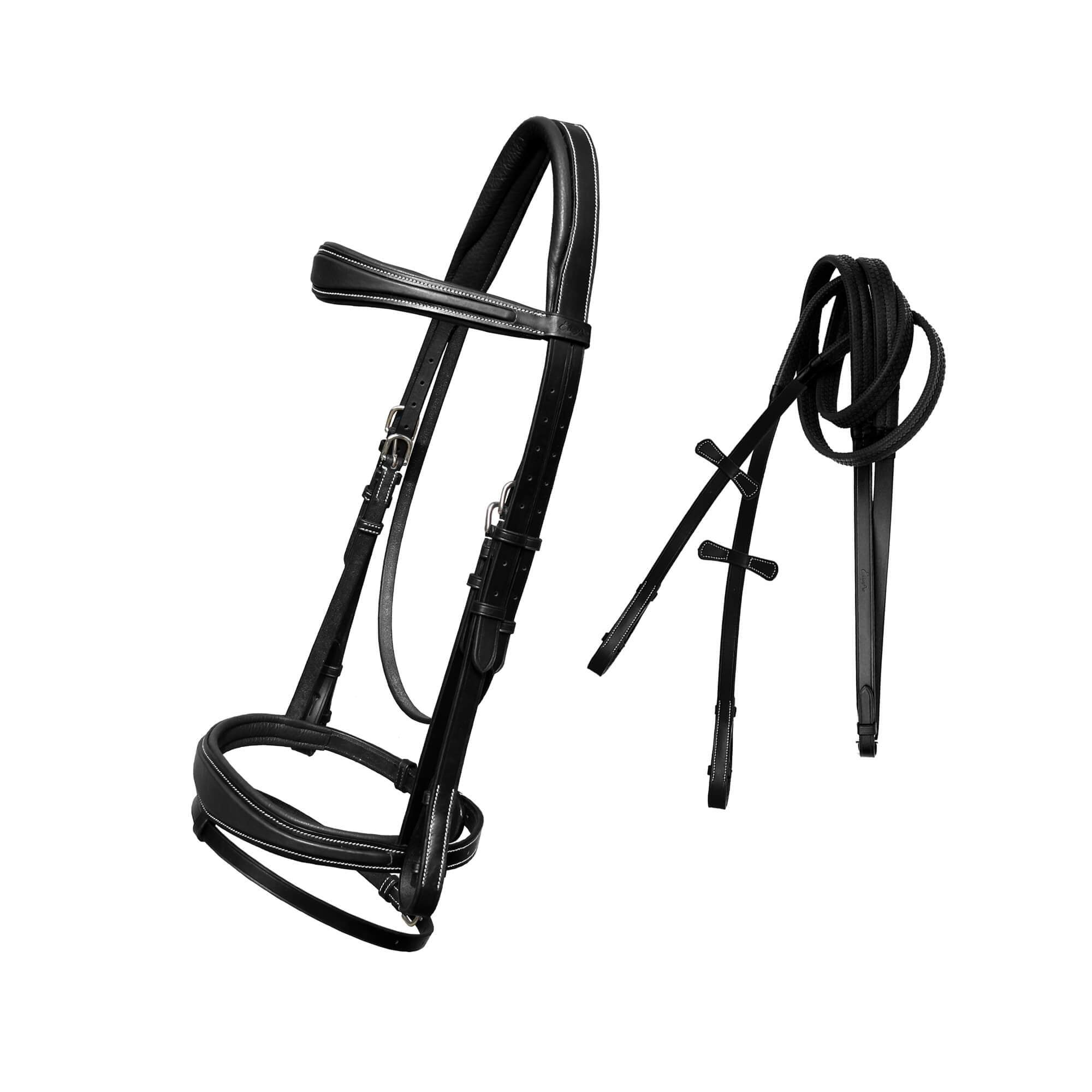 English Bridles-ExionPro Soft Raised Anatomical Bridle with Rubber Reins-Bridles and Reins