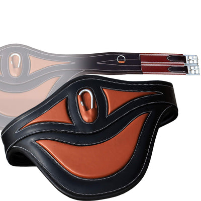 ExionPro Contrast Window Belly Guard Girth With Snap Hook & Burgundy Elastic with White Lines-Bridles & Reins